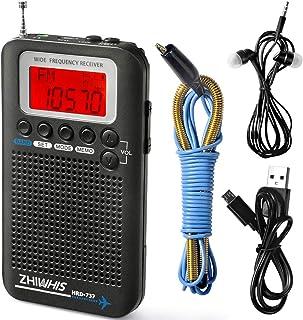 ZHIWHIS エアバンド受信機 ポータブルラジオ ポケットBCLラジオ 充電式電池式 フルバンド LCDディスプレイ付き スケルチSQノイズリダクション 大容量バッテリー 手動検索 自動検索 ストレージ放送 収納袋付き