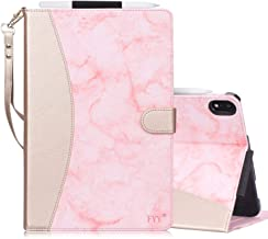FYY New Apple iPad Pro 11 inch (2018) Case [Support Apple Pencile Charging] Leather Case, Folio Case Smart Cover with [Auto Sleep/Wake Feature][Multiple Stand Angles][Card Slots][Hand Strap] Pink