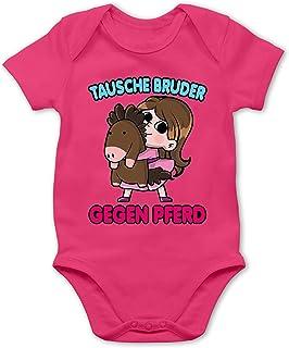 Shirtracer Geschwisterliebe Baby - Tausche Bruder gegen Pferd - Baby Body Kurzarm für Jungen und Mädchen