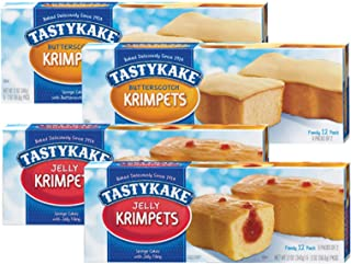 Tastykake Butterscotch or Jelly Krimpets Family Size 12 Pack- A Philadelphia Baking Institution (Variety Pack, 4 Pack)
