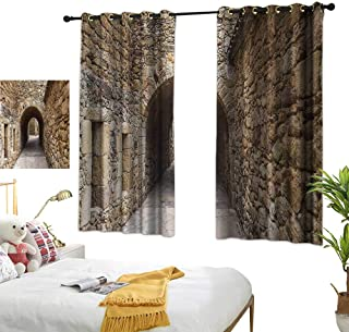 Blue Curtains Apartment Decor Collection,Medieval Ancient Historic Street with Stone Walls in Pals Girona Catalonia Spain Picture,Beige 72