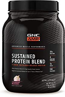 GNC AMP Sustained Protein Blend - Strawberry Milkshake, 2.04 lbs, High-Quality Protein Powder for Muscle Fuel