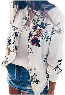 Jumojufol Women's Elegant Stand Collar Floral Print Full Zip Up Bomber Jacket