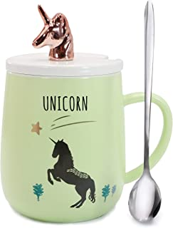Sunddo 3D Coffee Mug with Lid and Spoon,Ceramic Cute Cartoon Animal Unicorn Mug Ceramic Tea Cup for Home Office-Unique Gift For Animal Lovers Rose Gold Green 14 OZ