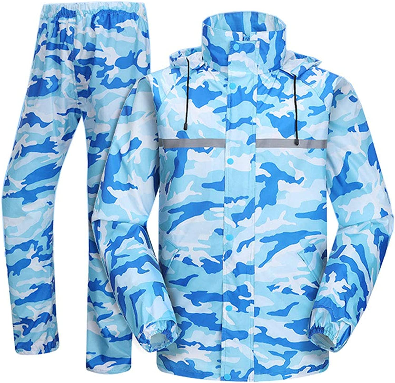 4907d131b4a blueee Hooded Rainwear Women's Split Raincoat Motorcycle Men's Rain Rain  Rain Jacket Pants Suit Breathable Thicken Sportswear Keep Warm Predective  Gear ...