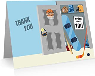 Sports Thank You Cards (24 Cards and Envelopes) Kids Thank You Cards