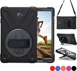 Samsung Galaxy Tab A 10.1 with S Pen Case,P580 Case,TSQ Heavy Duty Shockproof Dropproof Kidsproof Rugged Protective Case with Hand Strap/Stand/Shoulder Stra for Galaxy A 10.1 2016 SM-P580/P585,Black