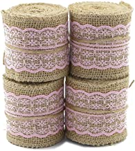 PIXNOR Natural Jute Lace Burlap Rolls Ribbon Crafts Home Wedding Christmas Decor M Cm Pieces Pink
