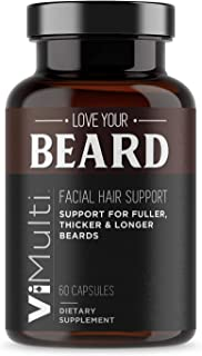 ViMulti Beard Support for Fast Hair Growth – Fastest Guaranteed Hair Loss Treatment – Promote Thicker, Fuller, Masculine Beard in Just 2 Weeks w/ 29 Mens Muscle, Hair & Beard Growth Vitamins