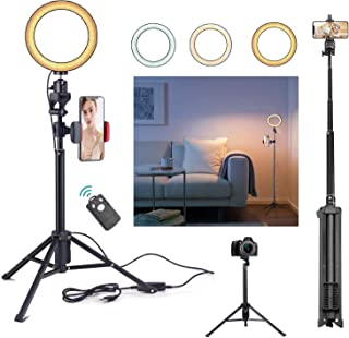 Rimposky 16 cm Selfie Ring Light with Tripod & Cell Phone Holder, Dimmable Led Camera Ringlight with Tripod Stand for Live Streaming Makeup YouTube Video Photography,Compatible iPhone Android, Remote Control