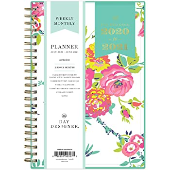 """Day Designer for Blue Sky 2020-2021 Academic Year Weekly & Monthly Planner, Flexible Cover, Twin-Wire Binding, 5"""" x 8"""", Peyton White, Model: 107926-A21"""