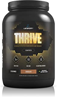 Legion Thrive Vegan Protein Powder, Chocolate - Rice and Pea, Plant Based Protein Blend. Gluten Free, GMO Free, Naturally Sweetened and Flavored, 20 Servings, 2 Lbs (Chocolate)