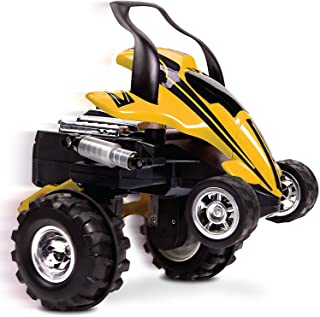 SHARPER IMAGE RC Street Savage Stunt Car, Perform 360 Degree Spins, Wheelies, Jumps, and More, Full Function Wireless Radio Remote Control, All Terrain Tires, Spring Loaded Shocks, Yellow/Black 27 MHz