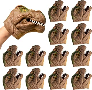 Barry-Owen Co.. (12 Pack Dinosaur Hand Puppet Toy Flexible Rubber Fun Party Favor Prehistoric for Kids