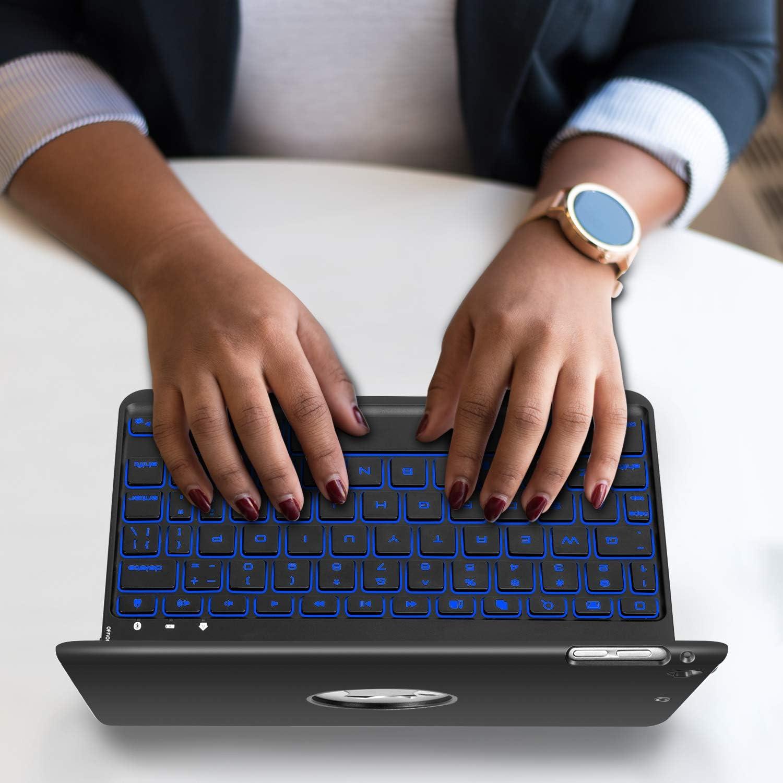 iPad Mini 5 / Mini 4 Keyboard - 135 Degree Flip 7 Color Backlit Aluminum Shell Smart Folio Keyboard Case with Auto Sleep/Wake for iPad Mini 5th Gen 2019 / iPad Mini 4th Gen 2015, Black