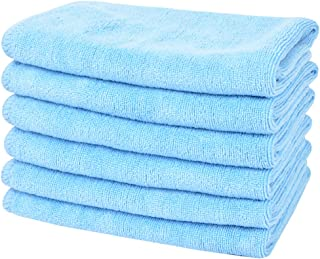 SINLAND All-Purpose Microfiber Cleaning Cloths Wiping Highly Absorbent & Lint Free Dusting Rags for Home and Kitchen 12Inchx12Inch Light Blue 6 Pack