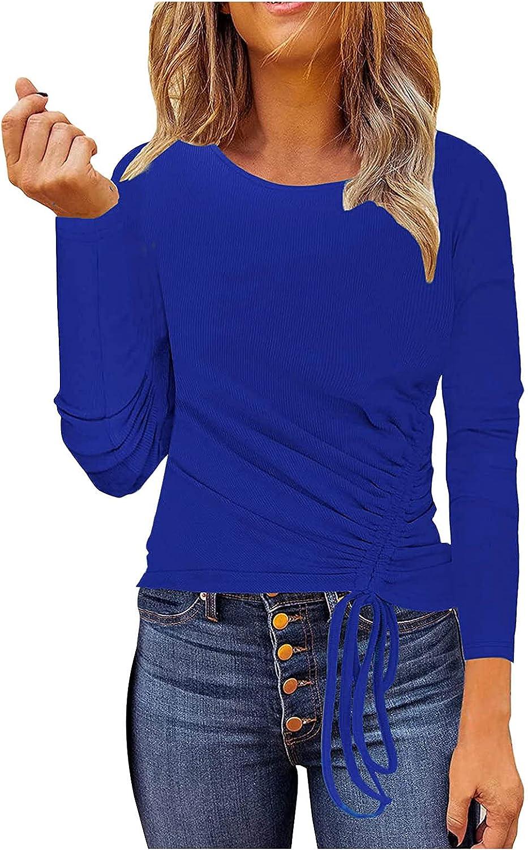 JSPOYOU Women's Casual Long Sleeve Tunic Tops Side Drawstring Ribbed-Knit Sweatshirt Solid Slim Fit Basic Shirts