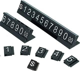 SunnyZoo Price Tag Adjustable Counter Stand Label Metal Sale Price Display Stand 16 Sets (Black)