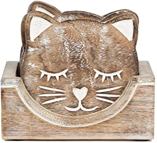 Indus Lifespace Wooden Coasters for Drinks Beer Wine Glass Tea Coffee Cup Mug Coaster Holder (Cat)