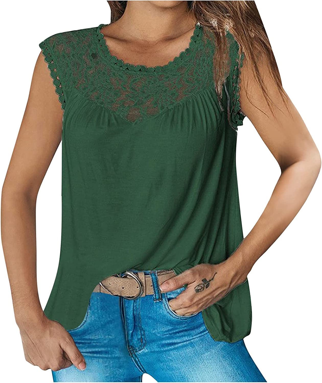 Blouses for Women Fashion, Women's Lace Stitching Can Be Worn On The Outside with A Jacket and Vest