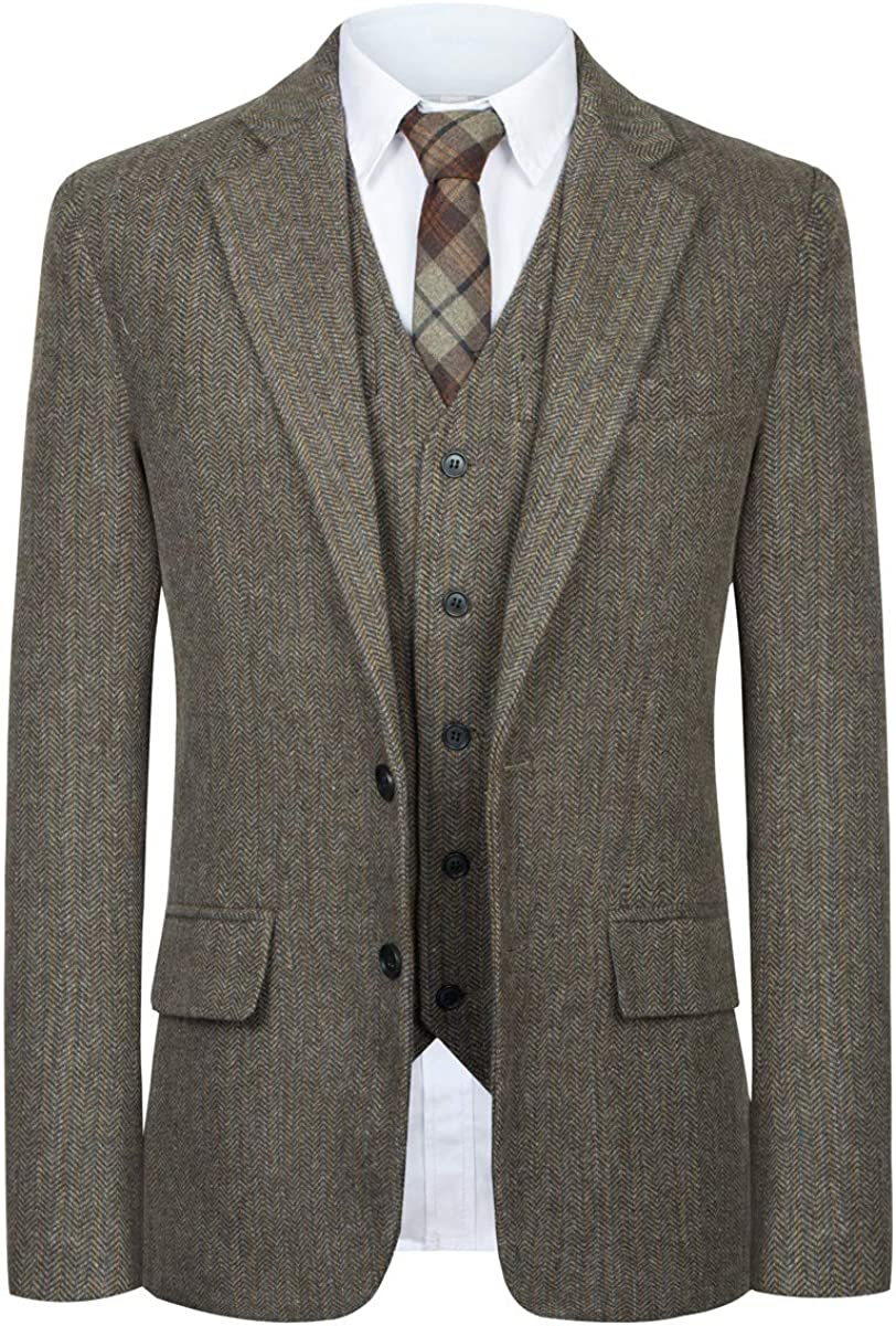 CMDC Men Suit Slim Fit Tweed Wool Blend Herringbone Vintage Tailored Modern Fit Suit