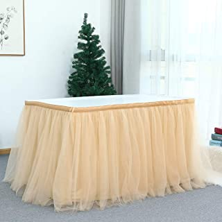 Fabriqu/ée en Italie Orkidea Jupe de table avec tulle Noir Dimensions : 74 x 420 cm