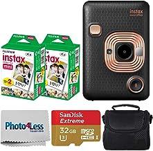 Fujifilm Instax Mini LiPlay Hybrid Instant Camera (Elegant Black) + Fujifilm Instax Instant Film (40 Shots) + 32GB mciroSD...