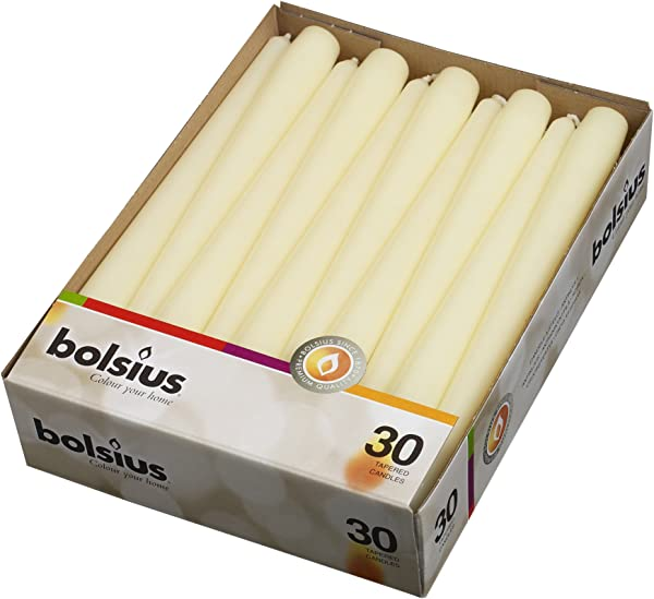 BOLSIUS Long Household Ivory Taper Candles 10 Inch Unscented Premium Quality Wax 7 5 Hour Long Burning Dripless Candles Bulk Pack Of 30 For Home Decor Wedding Parties And Special Occasions