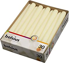 BOLSIUS Long Household Ivory Taper Candles - 10-inch Unscented Premium Quality Wax - 7.5 Hour Long Burning Dripless Candles Bulk Pack of 30 for Home Decor, Wedding, Parties and Special Occasions