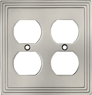 Cosmas 25012-SN Satin Nickel Double Duplex Electrical Outlet Wall Plate