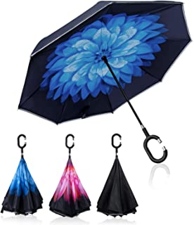 Sweesire Double Layer Inverted Umbrellas, Windproof & Waterproof Reverse Folding Umbrella with C-Shaped Handle,UV Protection Straight Umbrella for Car Rain Outdoor Use