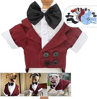 Lovelonglong 宠物服装狗狗套装正式燕尾服带黑色蝴蝶结,适合大型中型小型犬猫咪服装 Reddish 棕色 L-S (Medium Large Dog)