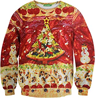 Murinsar Christmas Pizza Tree Sweatershirt Pullover Long Sleeve S-XXL