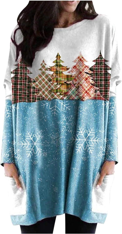 Women's Christmas Lovely Xmas Plaid Tree Printing Sweatshirt with Pocket Tops Splicing Crewneck Pullover