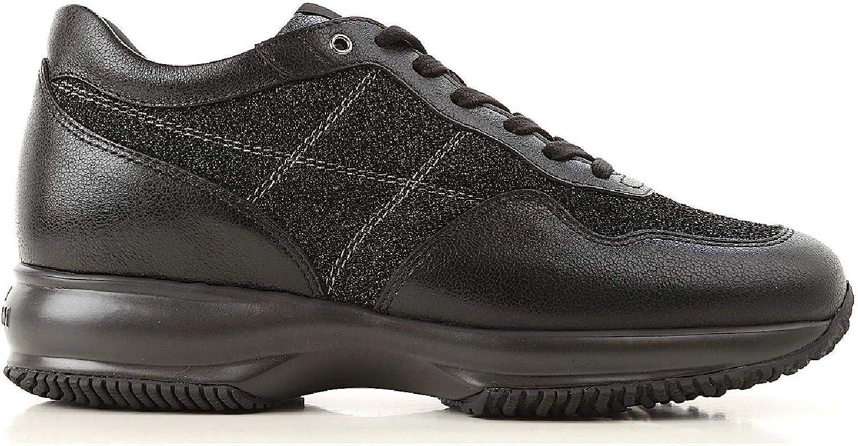 Hogan Women's HXW00N0AJ40JCYB999 Black Leather Sneakers