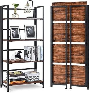 Giantex 4-Tier Folding Bookshelf Standing Shelf Units Display Rack Storage Shelf Industrial Style Utility Shelving with Metal Frame & Wood Layer (Rustic Brown, 23.5