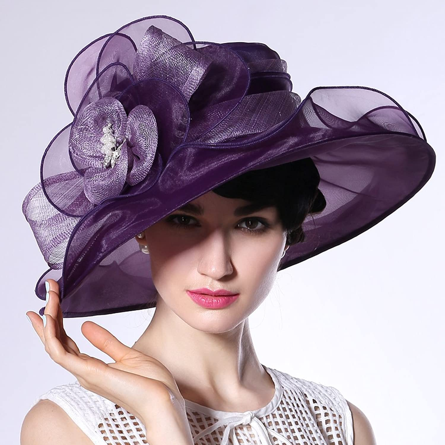 June's Young Sun Hats Organza Hats 100% Organza Special Design Fedoras Purple color