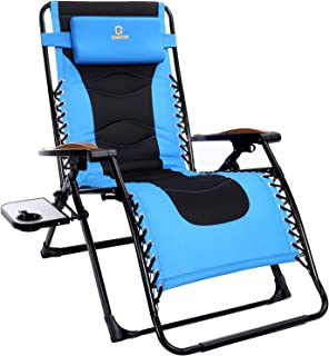 OT QOMOTOP Oversized Zero Gravity Chair, 22.8''W Padded Seat, Adjustable Reclining Angle with Lock, Lounge Patio Chair wit...