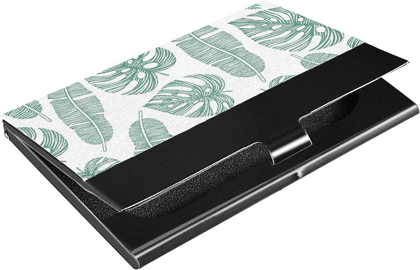OTVEE Green Leaves Business Card Holder Wallet Stainless Steel & Leather Pocket Business Card Case Organizer Slim Name Card ID Card Holders Credit Card Wallet Carrier Purse for Women Men