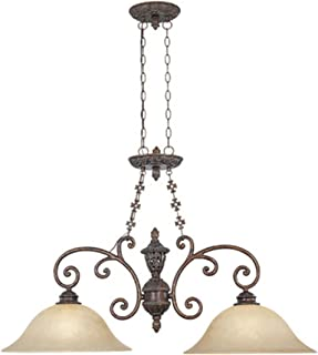 Designers Fountain 97538-BU Amherst Collection 2-Light Island Light, Burnt Umber Finish with Antique Harvest Beige Glass Shades