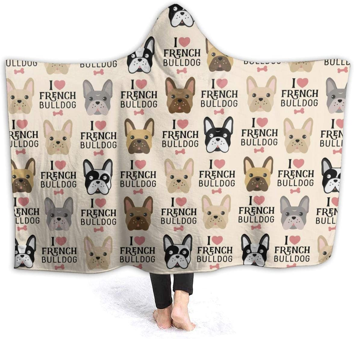 JASMODER 別倉庫からの配送 I Love French 毎日激安特売で 営業中です Bulldog Throw Bla Hoodie Wearable Blanket