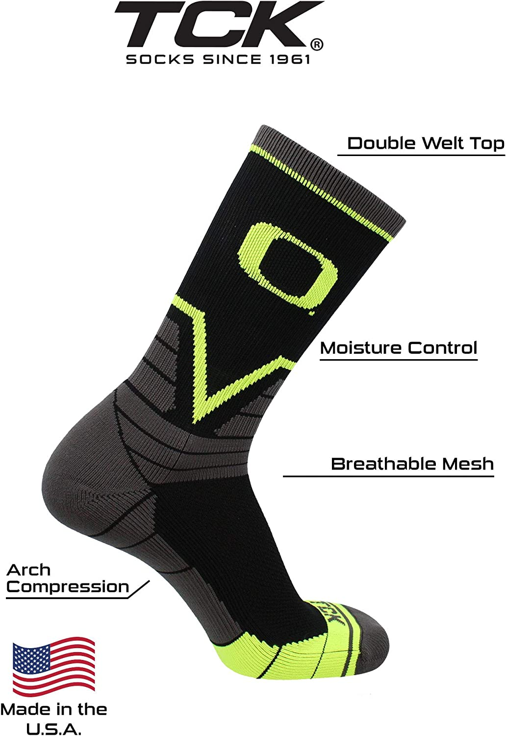 TCK Oregon Ducks Socks Victory Crew