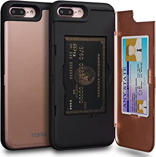 TORU CX PRO iPhone 8 Plus Wallet Case Pink with Hidden ID Slot Credit Card Holder Hard Cover & Mirror for iPhone 8 Plus/iPhone 7 Plus - Rose Gold