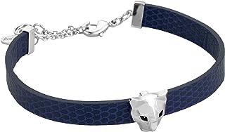 Full Silver Color Bracelet with Blue Strap - JCFB00140100