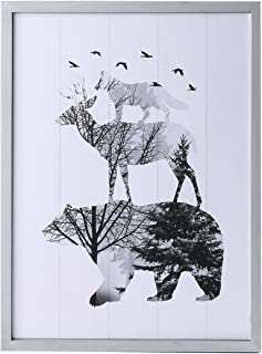 NIKKY HOME Decorative Animal Wooden Wall Mounted Art Prints Stretched and Framed Artwork Wildlife Cabin Decor, 11.89