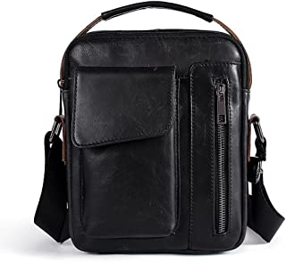 Men's Genuine Cowihde Leather Casual Crossbody Slim Fold Shoulder Messenger Bag