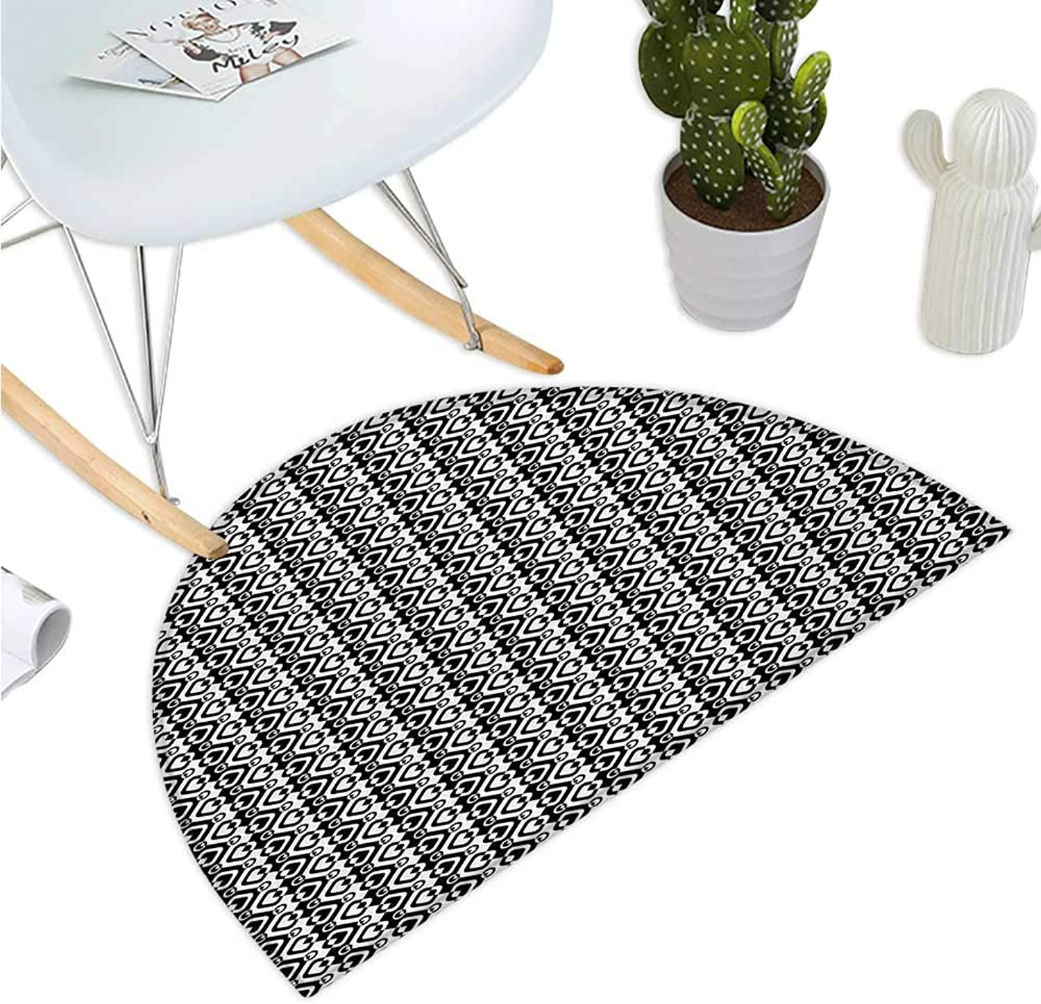 Geometric Semicircle Doormat Chevron Zigzags Rhombus and Circles Pattern Monochrome Abstract Illustration Entry Door Mat H 43.3  xD 64.9  Black and White