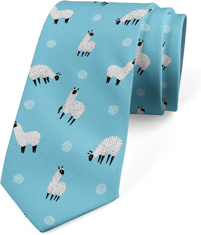 Lunarable Men's Tie, Hand Drawn Alpacas Exotic, Necktie, 3.7