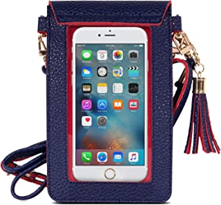 Best MoKo Cell Phone Bag, PU Leather Crossbody Bag Mini Phone Pouch Fit with iPhone 12 Mini, iPhone SE 2020/11 Pro/11/Xs Max/XR/Xs/X, Galaxy Note 10/S10e/S10/S10P/S20, Google Pixel 3a/3a XL - Indigo + Red Review