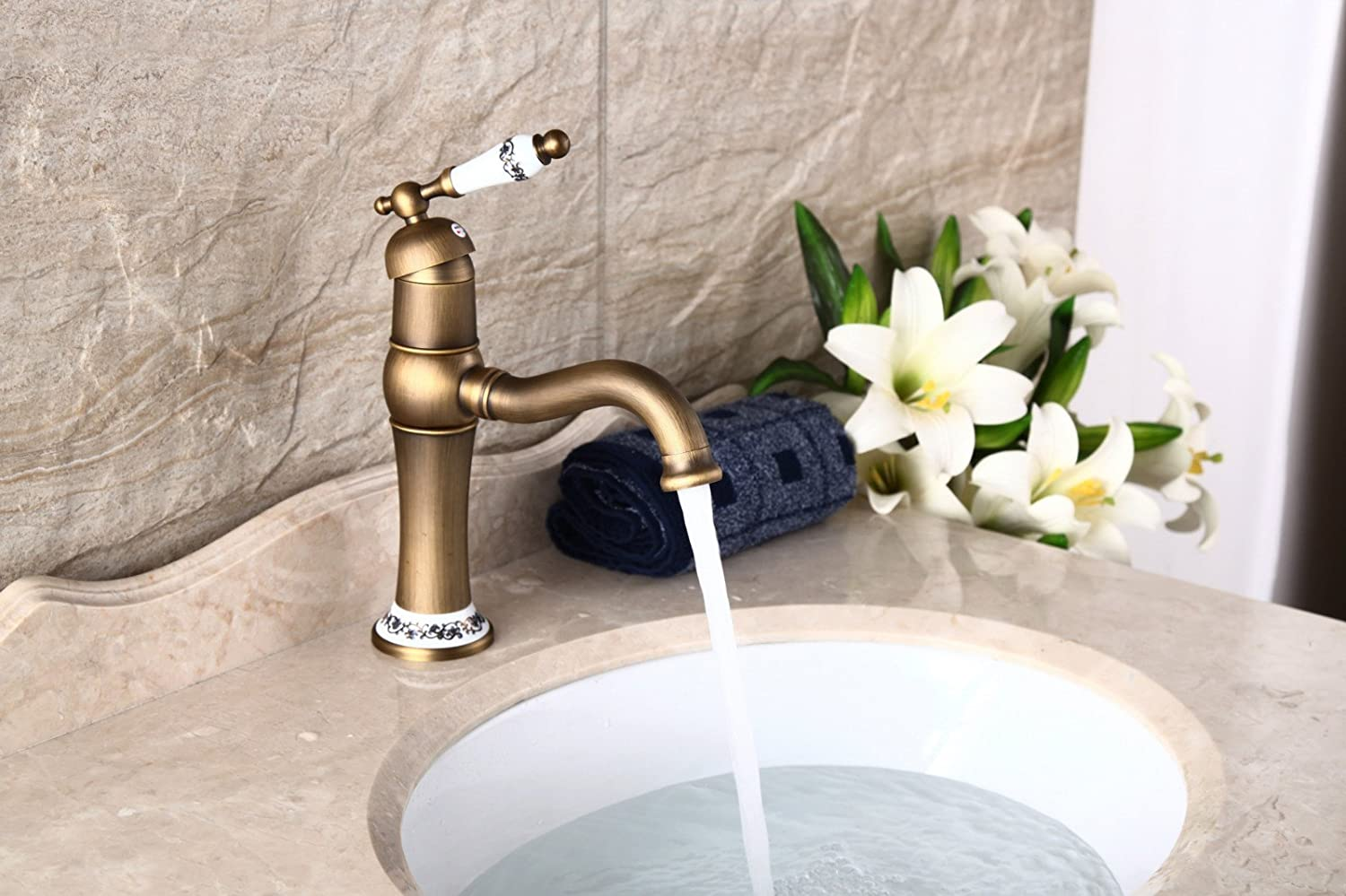 MIAORUI Antique faucet, hot and cold copper, European style bathroom, counter basin, ceramic basin, bathroom faucet
